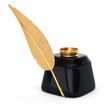golden writing pen and inkwell