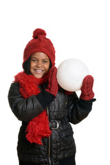 happy child with giant snowball