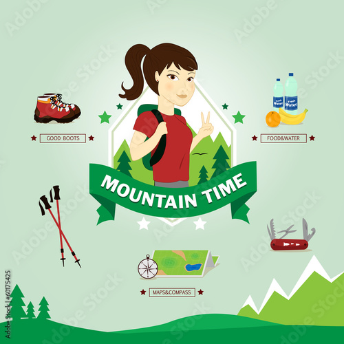 Young woman excursionist, vector illustration