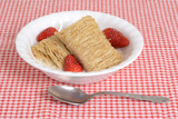 Shredded wheat with fruit in bowl