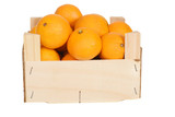 wood box of mandarin oranges