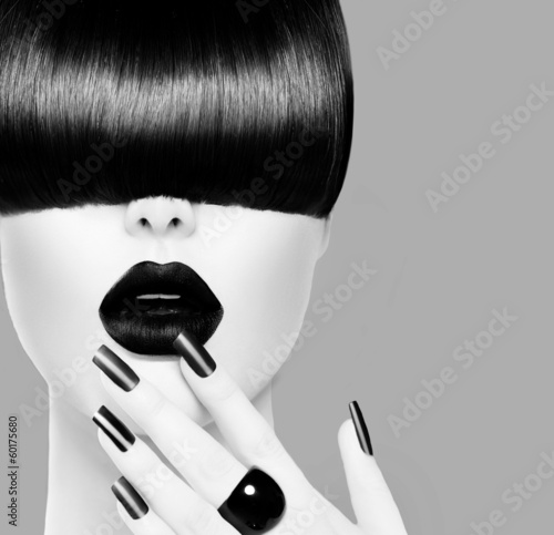 High Fashion Black and White Model Girl Portrait