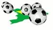 Fussbälle, rollend über Brasilien