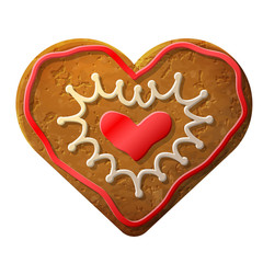 Gingerbread heart decorated colored icing
