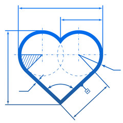 Heart symbol with dimension lines for blueprint