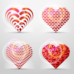 Creative collection of original heart signs (icons, symbols)