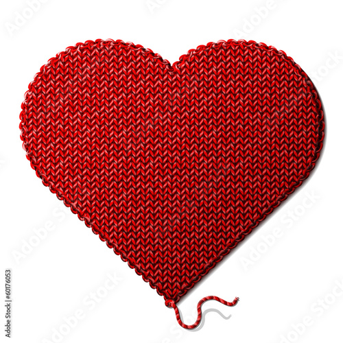 Heart symbol of knitted fabric isolated on white background