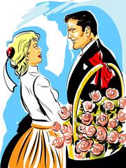 couple homme femme fiancés fleurs roses