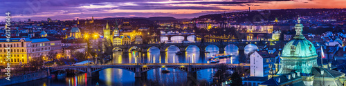 Aluminium Praag Bridges in Prague over the river at sunset