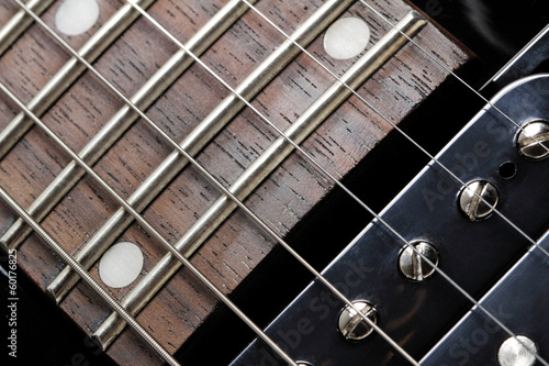 Electric guitar close-up. Neck and humbucker pickup.