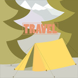 Tent Camping Traveling concept in vector flat design