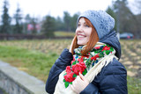 Girl in a bright Ukrainian scarf