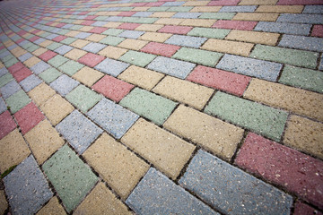 Colorful concrete brick pavement