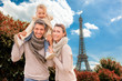 canvas print picture - family tourism paris france