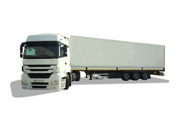 Isolated white truck and trailer