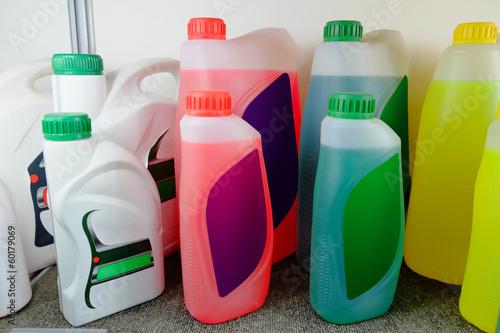 Oil in bottles in a shop