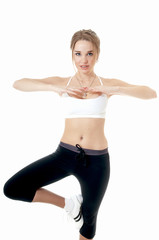Athletic woman doing sport exercise over white background. Healt