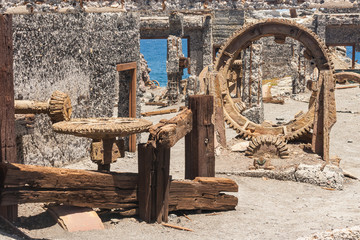 corroded machinery in abandoned mine on White Island