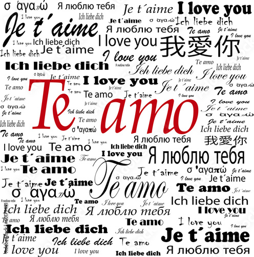"TE amo in red and ""I love you"" in different language"