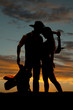 Silhoeutte cowboy Indian saddle