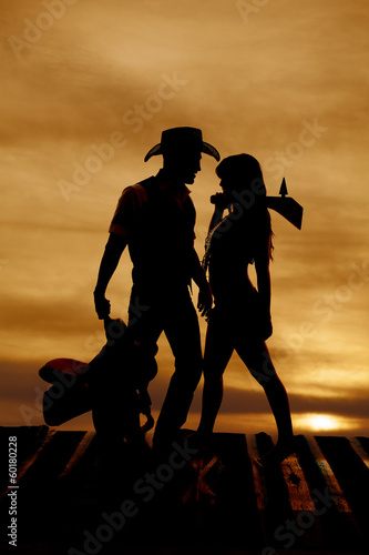 Silhouette cowboy Indian saddle club shoulder