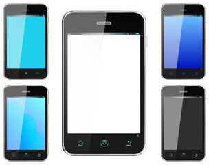 Realistic Smartphone Cellphone with alternate colors