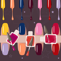 Set of multicolored nail polish brushes. vector