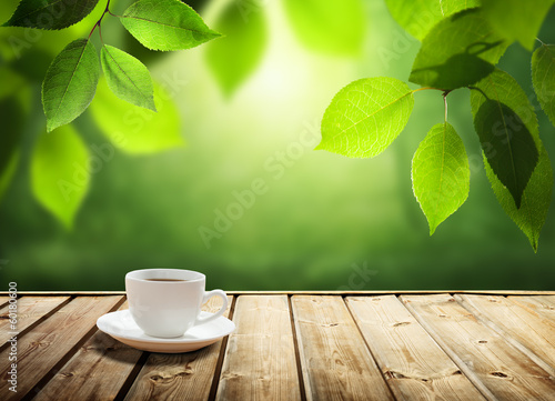 Keuken foto achterwand Bossen cup coffee and sunny trees background