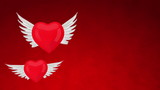 Two flying heart with wings