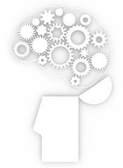 Cervello corpo umano ingranaggi idee anatomia