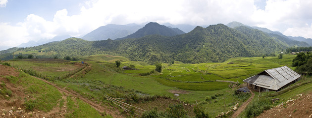 Panorama of mountains near Sapa, Vietnam