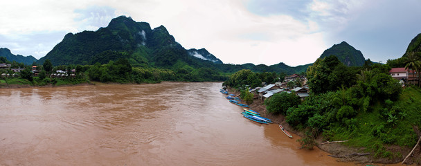 Nature around Nong Khiaw village and Nam Ou river in Laos