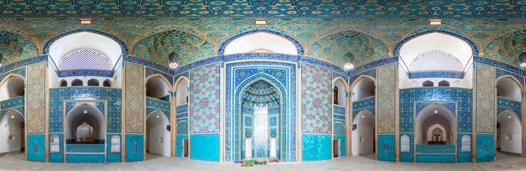 Interior of Jameh Mosque in Yazd, Iran.