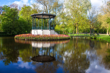 Pond and tulips in Vondelpark, Amsterdam
