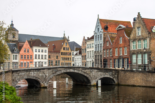 Medieval bridge over canal in Bruges, Belgium