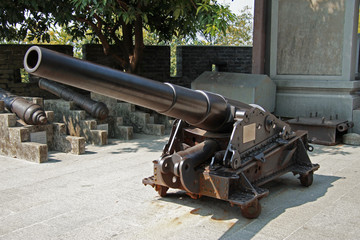 Ancient cannon in the Chinese museum outdoor