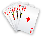 Poker cards Straight Flush Diamonds hand