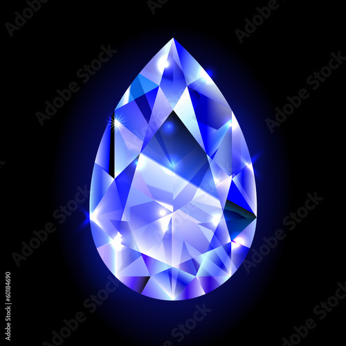 design element, blue diamond isolated on black