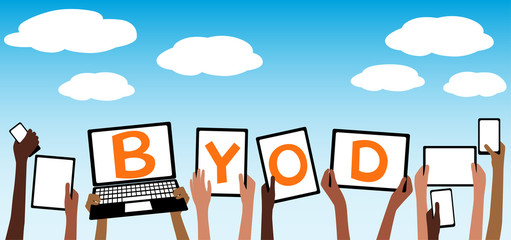 BYOD Bring Your own Device Tablet in Hands Blue Sky