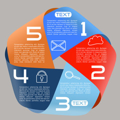 Infographics Options Infinite Ribbon Bright Five Choices Wide