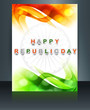 Republic day tricolor brochure template for wave  indian flag de