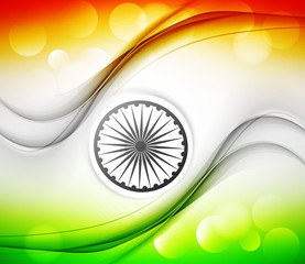 Happy republic day stylish indian flag wave tricolor art vector