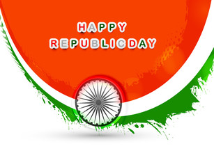Stylish indian flag republic day grunge beautiful wave tricolor