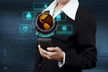 businessman holding mobile phone and showing circular diagram of