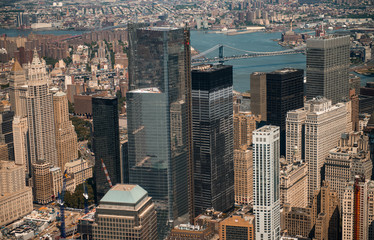 Aerial view of Lower Manhattan from Helicopter with  Manhattan B