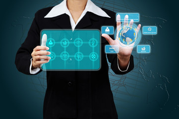 Business hand touching icon on digital virtual screen