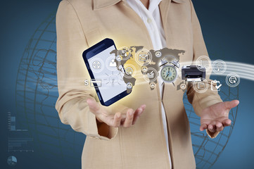 Business woman showing mobile phone and icon web symbol on hand