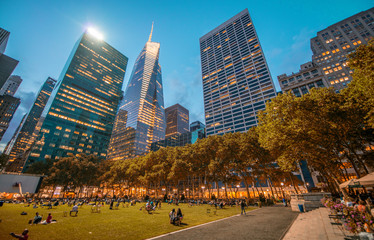 Bryant Park in Manhattan at night