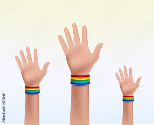 three hands together celebrating the Gay Pride