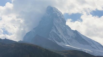 Wind cloud motion time lapse Matterhorn mountain Peak, Zermatt